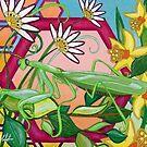 Praying Mantis in Flowers by chromaddict
