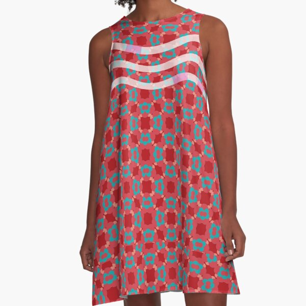 Floral pattern red blue A-Line Dress
