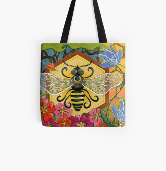 Mid Century Modern Bee on Honeycomb with Flowers All Over Print Tote Bag