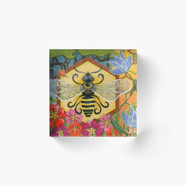 Mid Century Modern Bee on Honeycomb with Flowers Acrylic Block
