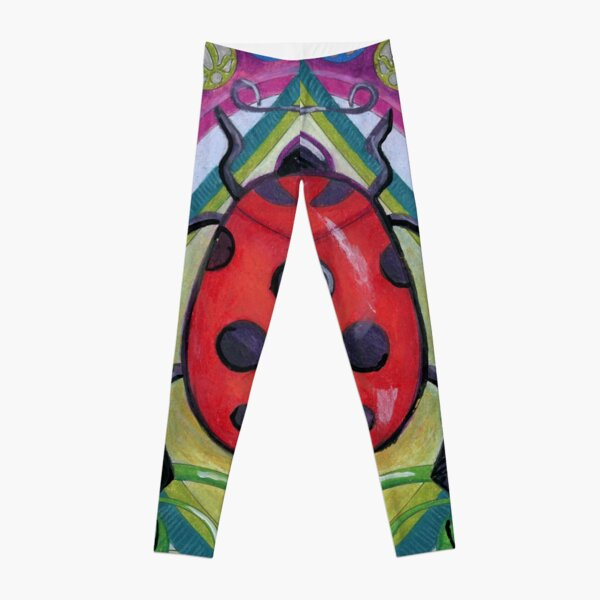 Art Nouveau Ladybug on a Leaf in Flowers Leggings