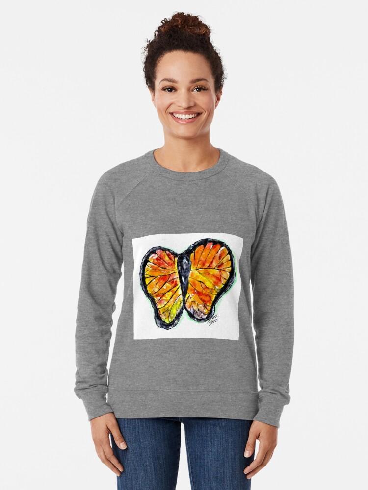 Alternate view of Glass Butterfly Digitally Enhanced Lightweight Sweatshirt