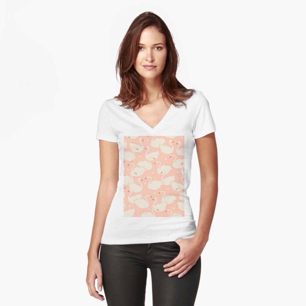 Schwäne Tailliertes T-Shirt mit V-Ausschnitt