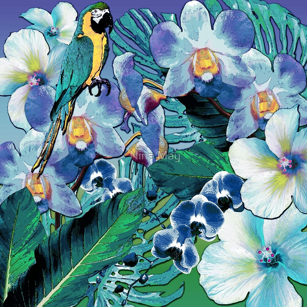 Tropical Blue Orchid Parrot by Nina May