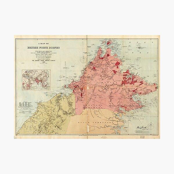 Map of British North Borneo (1899) Photographic Print