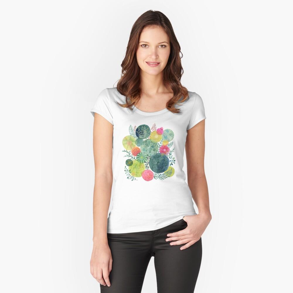 Sukkulenten Kreisen Tailliertes Rundhals-Shirt