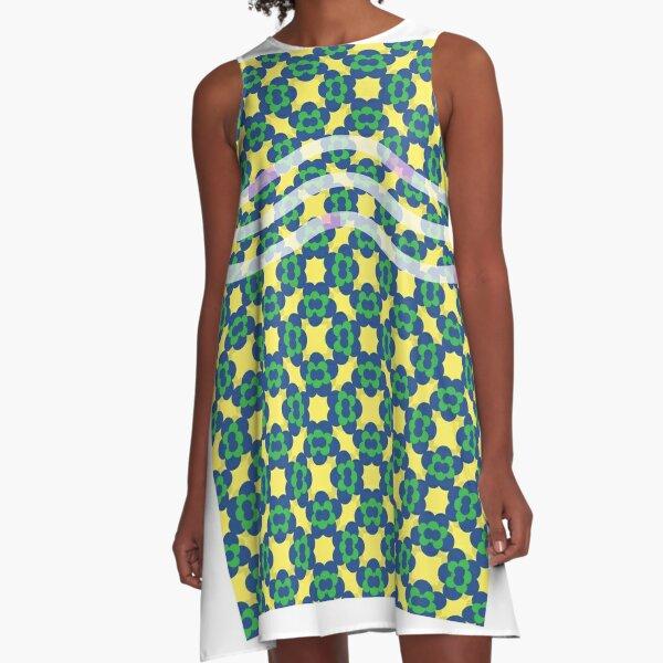 Floral pattern green yellow A-Line Dress