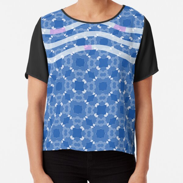 Floral pattern blue Chiffon Top