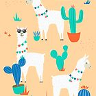 Summer Llamas in the Desert Pattern by latheandquill