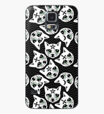 Creepy Cute Cat Pattern in Black and Grey Case/Skin for Samsung Galaxy