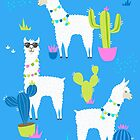 Summer Llama Pattern in Neon by latheandquill