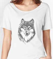 Lone Wolf in Gray Scale Awesome Hand Drawn Art Women's Relaxed Fit T-Shirt