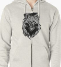 Lone Wolf in Gray Scale Awesome Hand Drawn Art Zipped Hoodie