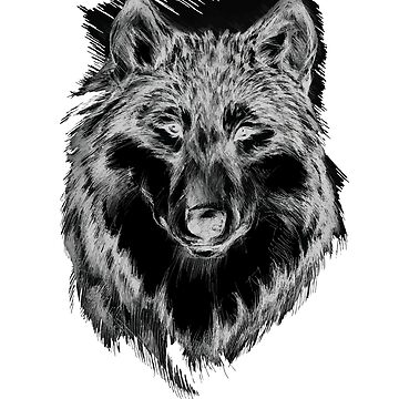 Lone Wolf in Gray Scale Awesome Hand Drawn Art by FallenRevol