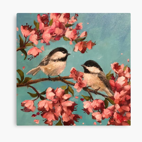 Chickadees & Cherry Blossoms Canvas Print