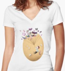 Magical Balloon Books Women's Fitted V-Neck T-Shirt