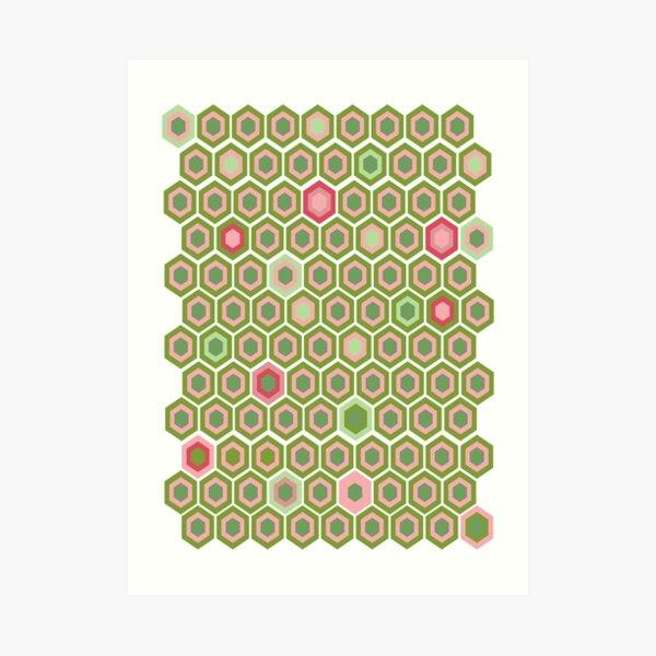 Pink and Green Honey Comb Art Print