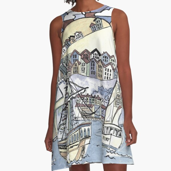 Bristol harbour A-Line Dress