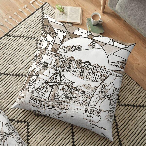 Bristol harbour sepia Floor Pillow