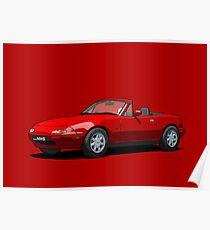 Mazda MX-5 MK1 Classic Red Poster
