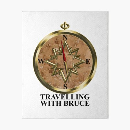Travelling with Bruce Compass Logo Black Type Art Board Print