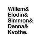 Willem & Elodin & Simmon & Denna & Kvothe. by jazzydevil