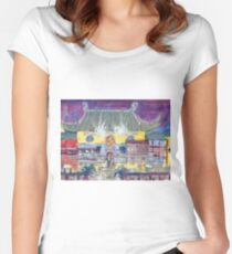 Approaching Dongwu Temple On Chinese New Years Eve Women's Fitted Scoop T-Shirt