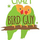 Crazy bird guy (with green peachface lovebirds) by jazzydevil