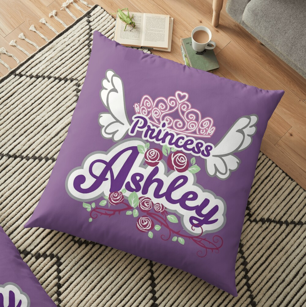 Princess Ashley - Personalized Name Gifts - Princess Birthday Gift for Ashley Floor Pillow