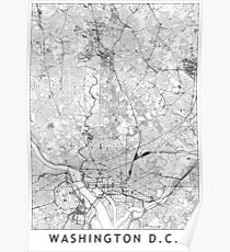 Washington D. C. White Map Poster