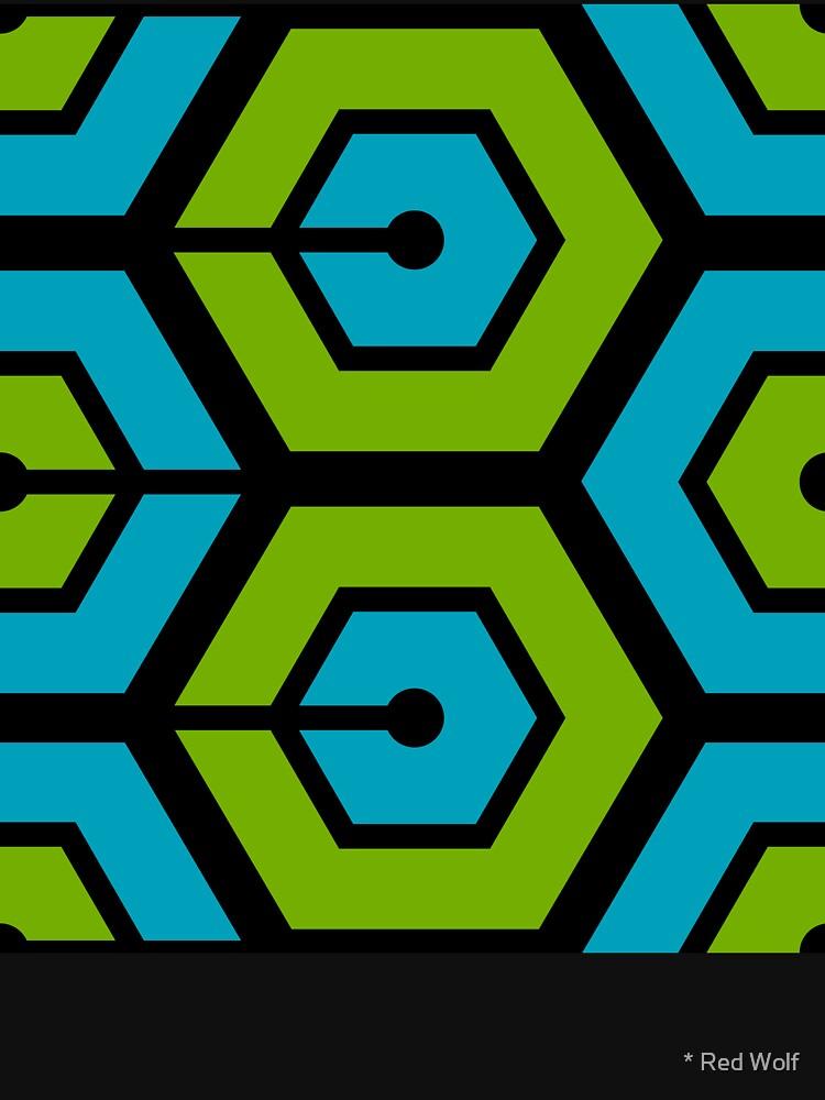 Geometric Pattern: Linked Hexagon: Blue/Green by redwolfoz