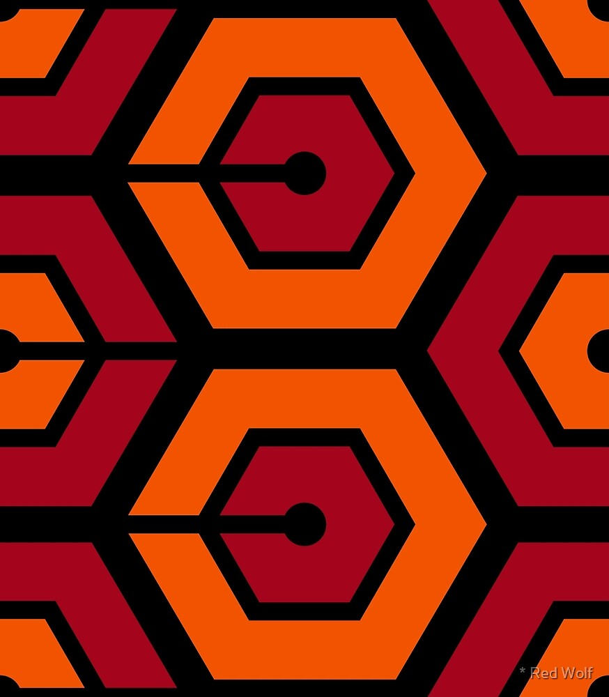 Geometric Pattern: Linked Hexagon: Orange/Red by * Red Wolf