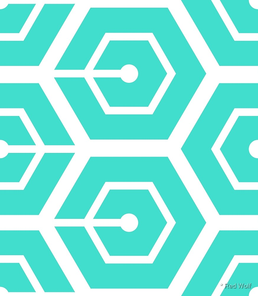 Geometric Pattern: Linked Hexagon: Blue by * Red Wolf