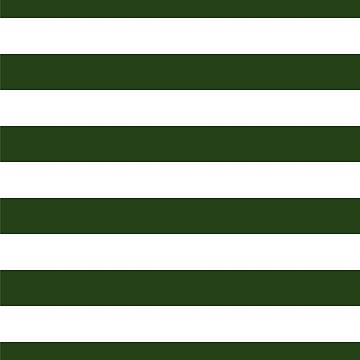 Large Dark Forest Green and White Cabana Tent Stripes by podartist