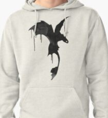 Toothless Silhouette - Ink Drips Pullover Hoodie