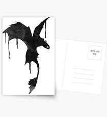 Toothless Silhouette - Ink Drips Postcards