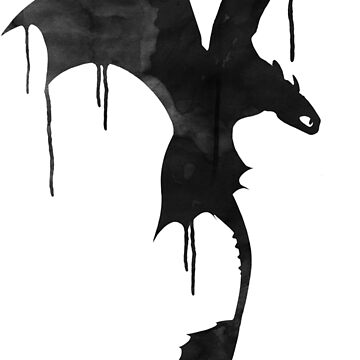 Toothless Silhouette - Ink Drips by making-escape