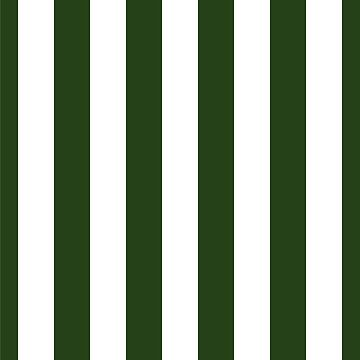 Large Dark Forest Green and White Circus Tent Stripes by podartist