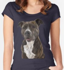Pit Bull Terrier Oil Painting Style Women's Fitted Scoop T-Shirt