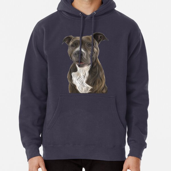 Pit Bull Terrier Oil Painting Style Pullover Hoodie