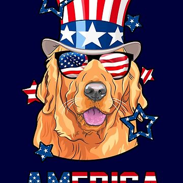 Golden Retriever American Flag Hat Glasses 4th of July Dog by vintagetreasure