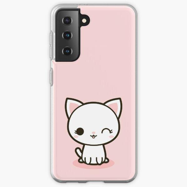 Kawaii white cat Samsung Galaxy Soft Case