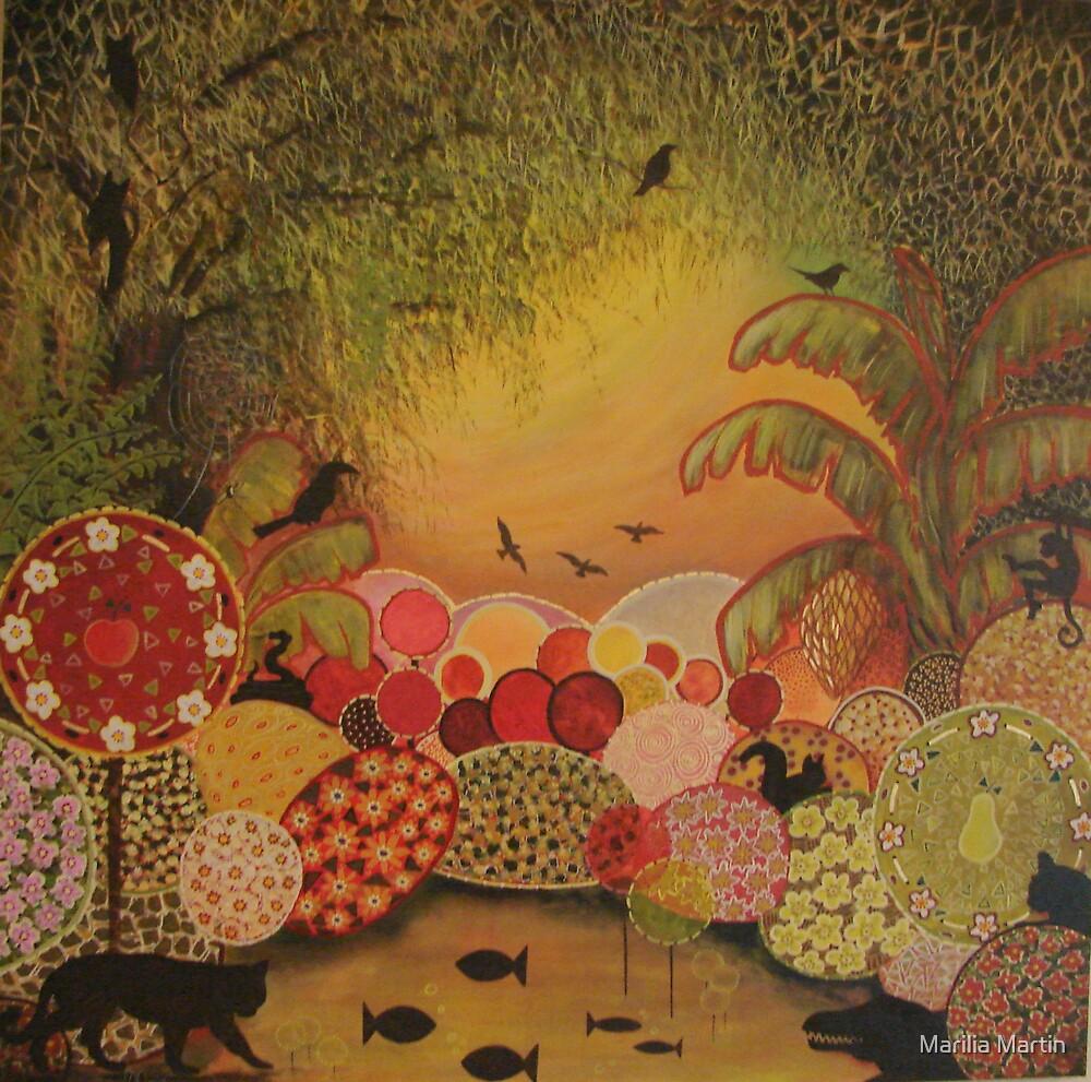 Flora e Fauna (acrylics on canvas 80 X 80 cm) by Marilia Martin