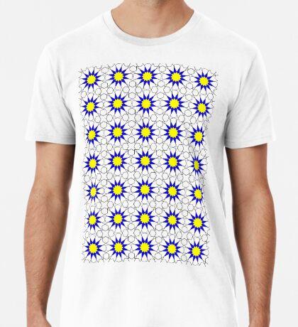 Islamic Geometric pattern 002 Blue & Yellow Premium T-Shirt