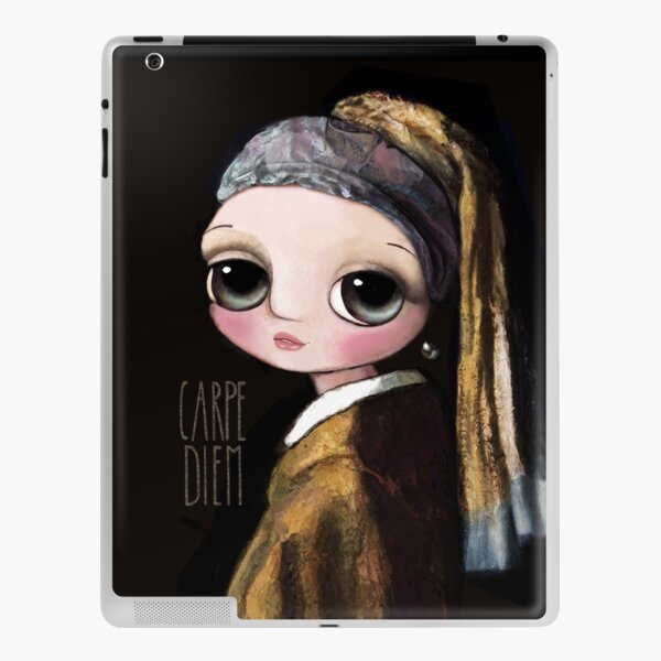The girl with the pearl earring, big eyes art by Margherita Arrighi iPad Skin