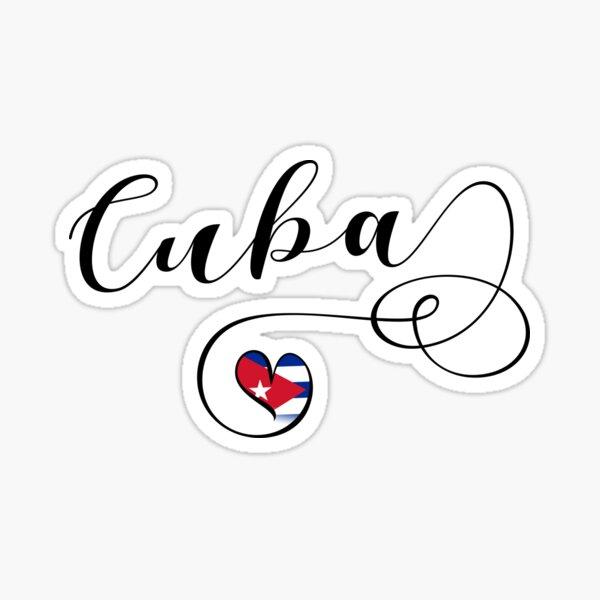 Autocollant Cuba, Coeur Cuba, Drapeau Cubain Sticker