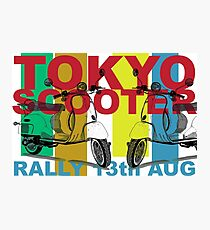 Tokyo Scooter Rally Poster  Photographic Print