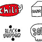 Sugar, Salt, Pepper & Chili stickers for your kitchen. by Anna Alekseeva