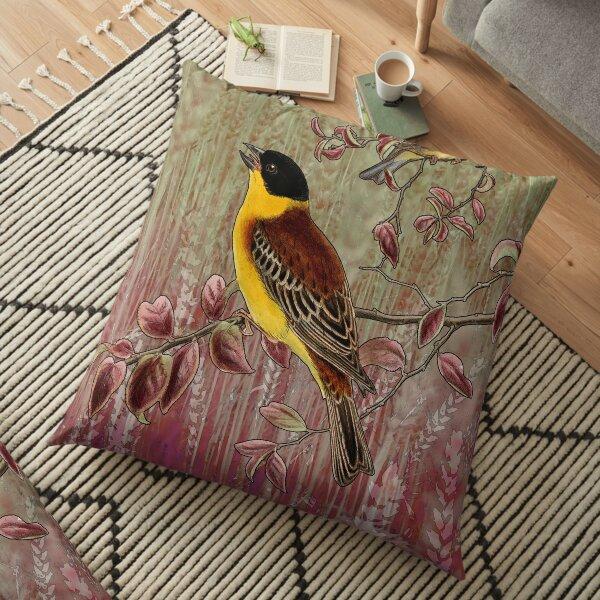 Wheat Birds Digital Collage Floor Pillow