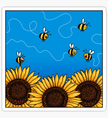 Sunflower Bee Trails Sticker